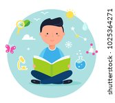 boy reading a book on science... | Shutterstock .eps vector #1025364271