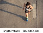 top view of fitness female... | Shutterstock . vector #1025365531