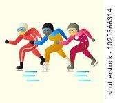 group of speed skating... | Shutterstock .eps vector #1025366314