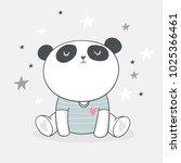 baby shower card. panda vector... | Shutterstock .eps vector #1025366461