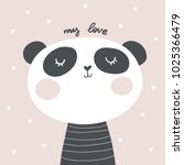 baby shower card. panda vector... | Shutterstock .eps vector #1025366479