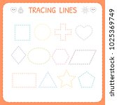 trace line worksheet for kids.... | Shutterstock .eps vector #1025369749