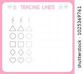 trace line worksheet for kids.... | Shutterstock .eps vector #1025369761