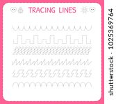 trace line worksheet for kids.... | Shutterstock .eps vector #1025369764