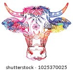 the cow's head. a cow with big... | Shutterstock .eps vector #1025370025