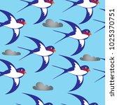 swallow vector seamless pattern | Shutterstock .eps vector #1025370751