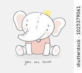 cute card with elephant baby   Shutterstock .eps vector #1025379061