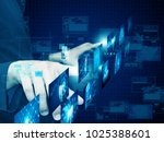 businessman press technology | Shutterstock . vector #1025388601