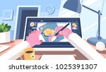 designer illustrator draws on... | Shutterstock .eps vector #1025391307