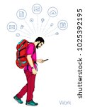 vector handsome man with... | Shutterstock .eps vector #1025392195