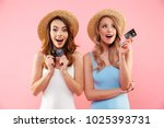 portrait of a two satisfied... | Shutterstock . vector #1025393731