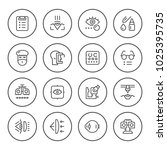 set round line icons of... | Shutterstock . vector #1025395735