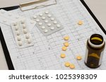 electrocardiogram on paper....   Shutterstock . vector #1025398309