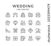 set line icons of wedding... | Shutterstock . vector #1025399479