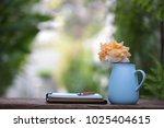 orange roe in blue pot with... | Shutterstock . vector #1025404615