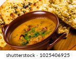 cream soup with chanterelles ... | Shutterstock . vector #1025406925