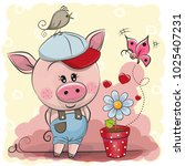 greeting card cute cartoon... | Shutterstock .eps vector #1025407231