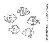 linear cartoon hand drawn fish... | Shutterstock . vector #1025407609