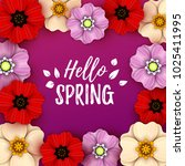 colorful spring background with ... | Shutterstock .eps vector #1025411995