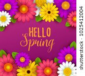 colorful spring background with ... | Shutterstock .eps vector #1025412004
