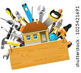 vector construction tools with... | Shutterstock .eps vector #1025421691