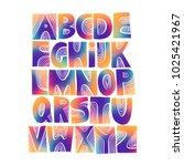 vector handwritten uppercase... | Shutterstock .eps vector #1025421967