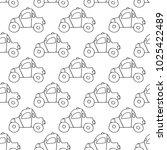 cartoon car pattern with hand... | Shutterstock . vector #1025422489