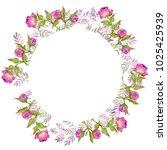 watercolor illustration  wreath ... | Shutterstock . vector #1025425939