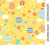 seamless pattern with easter... | Shutterstock .eps vector #1025441635