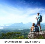 young backpackers enjoying a... | Shutterstock . vector #102545549