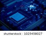 main chip of computer mainboard | Shutterstock . vector #1025458027