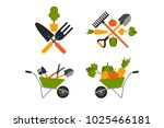different gardening tools with... | Shutterstock .eps vector #1025466181