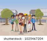 street of a city with cartoon...   Shutterstock .eps vector #1025467204