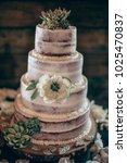 wedding cake on a table  | Shutterstock . vector #1025470837