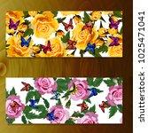 spring rose blooming flowers ... | Shutterstock .eps vector #1025471041