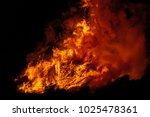 Big Bonfire With Smoke. Flames...