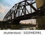 Old Rusted Railroad Bridge Blu...