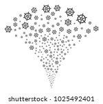 boat steering wheel fireworks... | Shutterstock .eps vector #1025492401