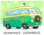 cartoon cute green retro van or ... | Shutterstock .eps vector #1025498131