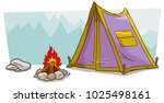 cartoon violet camping tent... | Shutterstock .eps vector #1025498161