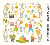 set of cute easter cartoon... | Shutterstock .eps vector #1025501284