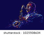 jazz saxophone player. vector... | Shutterstock .eps vector #1025508634