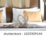 two swans made of towels...   Shutterstock . vector #1025509144