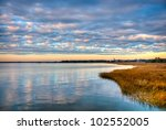 A Sunset Over The Marsh In...