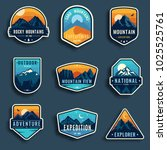 set of nine mountain travel... | Shutterstock .eps vector #1025525761