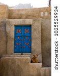 Small photo of Al Ayn, Oman - nov 2007 : blue door of a house in the village of Al Ayn near Nizwa