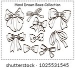 set of beautiful graphic bows.... | Shutterstock .eps vector #1025531545