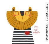 cartoon lion with lettering.... | Shutterstock .eps vector #1025532319