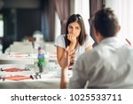 worried woman doubting having... | Shutterstock . vector #1025533711