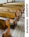 Row Of Wooden Church Pews